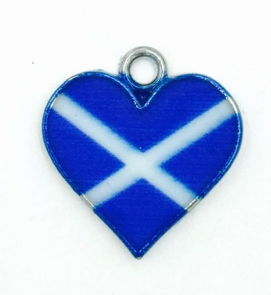 Scottish charm - Blue and white Saltire flag - Heart - 17mm x 18mm
